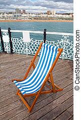 silla, muelle, litoral, mar, cubierta