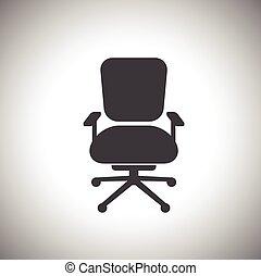 silla, oficina, icono