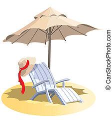 silla, paraguas