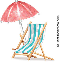 silla, paraguas, cubierta