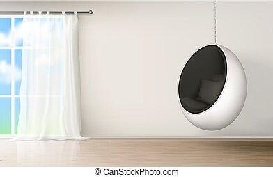 silla, realista, vector, interior, habitación, huevo