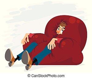 silla, suave, hombre
