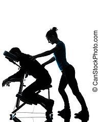 silla, terapia, masaje trasero