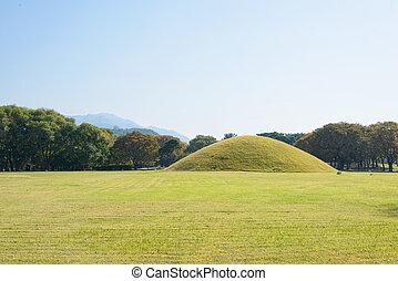 Silla tombs in Gyeongju - royal tombs located in Gyeongju in...