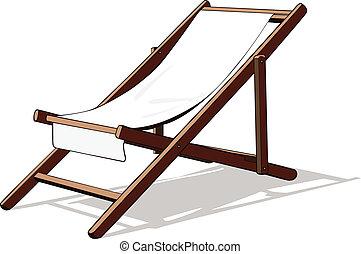 silla, vector, playa, cubierta