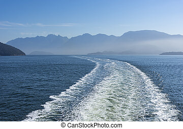 sillage, île, vancouver, ferry-boat