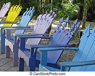 sillas, adirondack, colorido