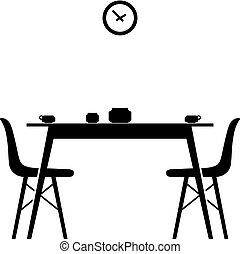 sillas, cenar mesa