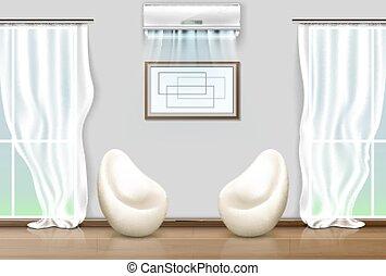 sillas, condicionamiento, centro, vida, aire, windows, ...