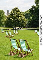 sillas de cubierta, parque del st. james, reino unido,...