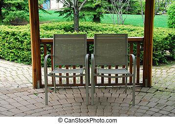 sillas, dos, patio