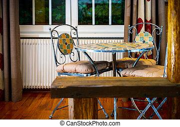 sillas, drop-forged, habitación, old-style, tabla