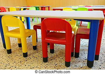 sillas, habitación, refectorio, jardín de la infancia, mesas...