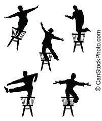 sillas, hombres, bailando
