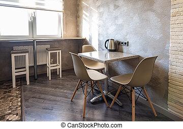 Sillas, interior, apartamento, barra, cocina.