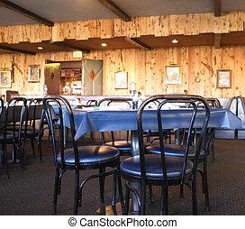 sillas, mesas, comensal, rústico