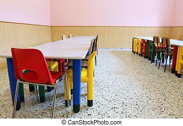 sillas, mesas, escuela, guardería infantil, refectorio