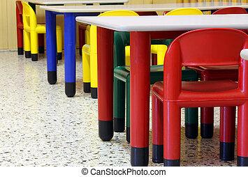 sillas, mesas, guardería infantil, refectorio