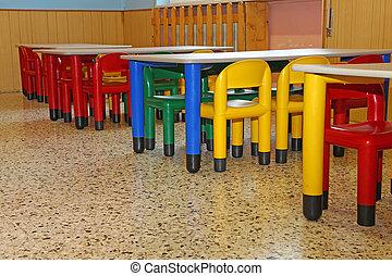 sillas, mesas, pequeño, refectorio, jardín de la infancia