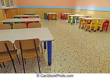 sillas, mesas, refectorio, jardín de la infancia