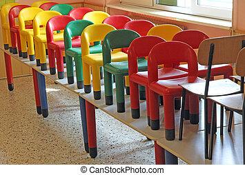 sillas, mesas, refugio, refectorio, agradable