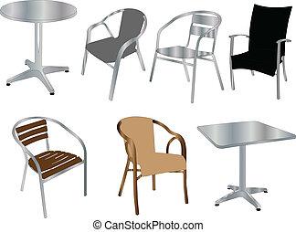 sillas, mesas, vector, -