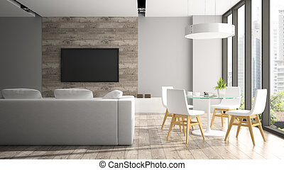 sillas, moderno, interpretación, fout, interior, blanco, 3d