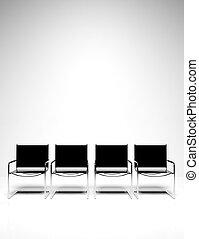 sillas, oficina, fila