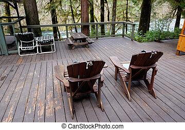 sillas, pantalla, adirondack, habitación, cubierta