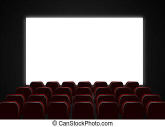 sillas, pantalla, teatro, cine