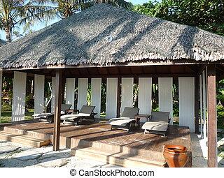 sillas, playa, cabaña