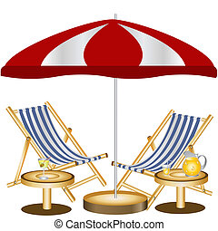 sillas, playa, dos