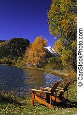sillas, por, lago