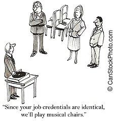 sillas, solicitantes de trabajo, elegir, musical