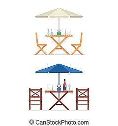 sillas, tabla, al aire libre