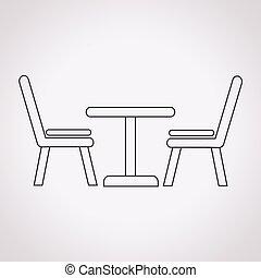 sillas, tabla, icono