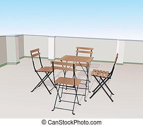 sillas, terraza