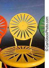sillas, uw, rayado, primer plano, arriba