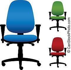 sillas, vector, oficina