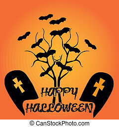 sillhouette halloween - two sillhouettes tombs with a lot of...