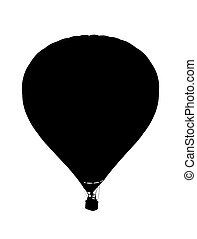 Sillhouette of a hot air baloon on a white background