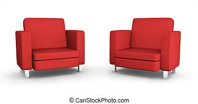 sillones, dos, rojo