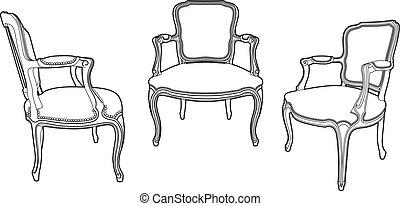sillones, estilo, tres, dibujo