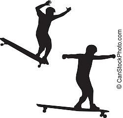 sillouette, skateboarder, vector