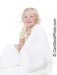 Silly Baby Todller Boy Wrapped in a Bath Towel