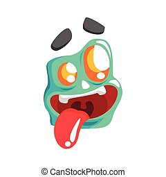 Silly Blue Emoji Cartoon Square Funny Emotional Face Vector Colorful Isolated Sticker