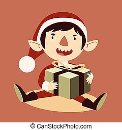 Silly Cartoon Elf Holding a Wrapped Git Box