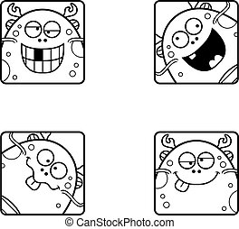 Silly Cartoon Sea Monster Icons