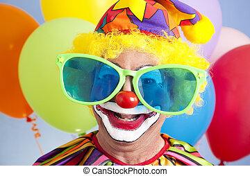 Silly Clown - Portrait of silly clown in oversized...