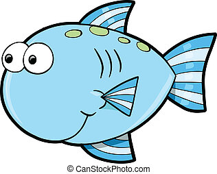 Silly Cute Fish Ocean Vector Illustration